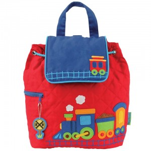 Stephen Joseph Train 12 Inch Quilted Backpack - Red/Blue Features