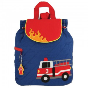 Stephen Joseph Firetruck 12 Inch Quilted Backpack - Blue/Red