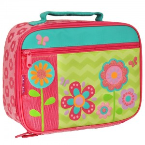 Stephen Joseph Flower Insulated Lunch Box with Velcro Strap, Inner Mesh Pocket and Front Zipper Pouch
