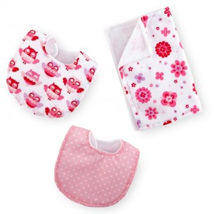 You & Me Bib and Burp Cloth Set for 12 to 14-inch Doll