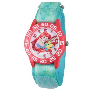 Disney Princess Girl's Ariel and Flounder Plastic Watch - Green Nylon Strap