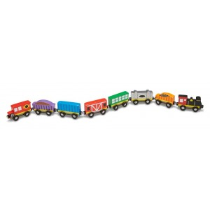 Melissa and Doug Wooden Train Cars - 8 Piece