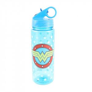 Wonder Woman Logo Stars 20 Ounce Plastic Water Bottle - Blue