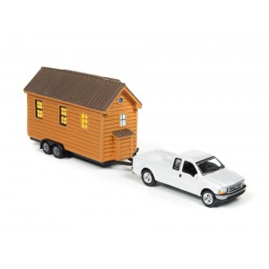 Johnny Lightning Tiny Houses with Vehicle - White 2004 Ford F-250 with Cedar Siding House