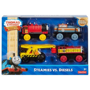 Fisher-Price Thomas & Friends Wooden Railway Steamies Vs. Diesels - 4-Pack