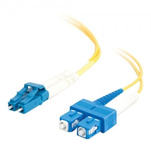 C2G/Cables to Go 26260 LC-SC 9/125 OS1 Duplex Single-Mode Fiber Optic Cable (2 Meters, Yellow)