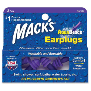 Mack's AquaBlock Earplugs, 2 Pair, Comfortable, Waterproof, Ear Plugs for Swimming, Snorkeling and Showering
