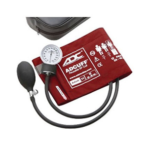 ADC Prosphyg 760 Pocket Aneroid Sphygmomanometer with Adcuff Nylon Blood Pressure Cuff, Adult, Red