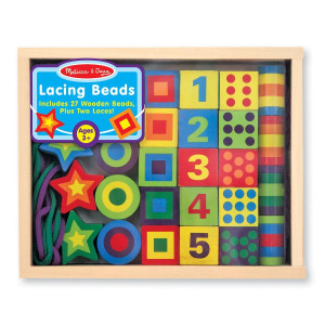 Melissa and Doug Deluxe Wooden Lacing Beads - Educational Activity With 27 Beads and 2 Laces