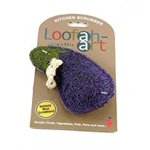 Loofah-Art 100% Natural Loofah Kitchen and Household Scrubber/Sponge, Eggplant