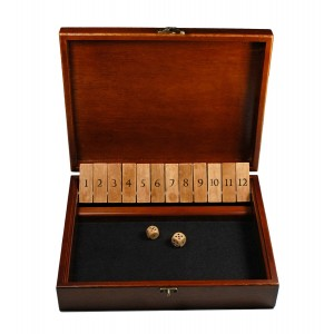WE Games Shut the Box Game with 12 Numbers in an Old World Styled Wood Box with a Lid and a Brass Latch