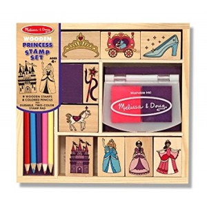 Melissa and Doug Wooden Princess Stamp Set: 9 Stamps, 5 Colored Pencils, and 2-Color Stamp Pad
