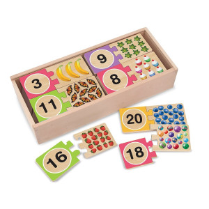 Melissa and Doug Self-Correcting Wooden Number Puzzles With Storage Box (40 pcs)