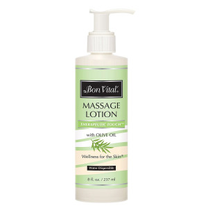 Bon Vital' Therapeutic Touch Massage Lotion Made with Olive Oil to Repair Dry Skin and Soothe Sore Muscles, Best Skin Therapy Lotion, Moisturizes Skin During Massages for Smooth, Soft Skin, 8 Oz Bottle
