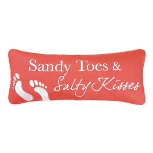 CandF Home 86051003 Sandy Toes and Salty Kisses Pillow, Pink