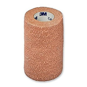 3M Coban Self-Adherent Wrap 1584, 4 inch x 5 yard (100mm x 4,5m), Sterile, Tan (Set of 18/EA)