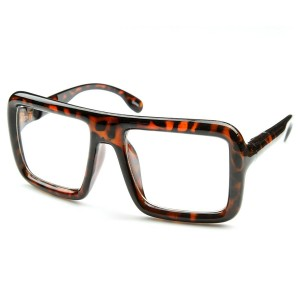 zeroUV - Large Retro-Nerd Bold Thick Square Frame Clear Lens Glasses