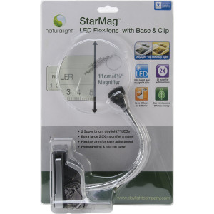 Daylight UN1161 Naturalight StarMag LED Flexilens with Base and Clip, Black/Silver
