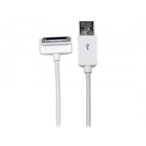 StarTech.com 2m (6 ft) Long Down Angle Apple 30-pin Dock Connector to USB Cable for iPhone iPod iPad with Stepped Connector - Charge Sync