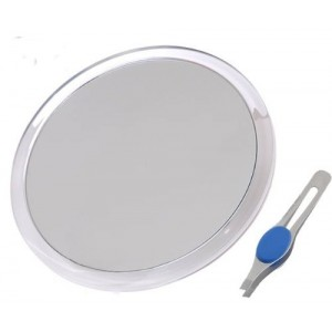 "JUMBL Large 8""  Suction Cup 10X Magnifying Mirror with Precision Tweezers"