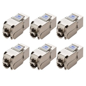 [UL Listed] Cable Matters (6 Pack) RJ45 Cat6A Shielded Metal Keystone Jacks