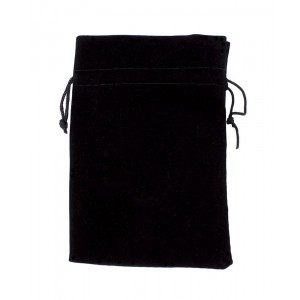 """Large 7"""" x 5"""" Black Velour Pouch with Drawstring by Wiz Dice"""