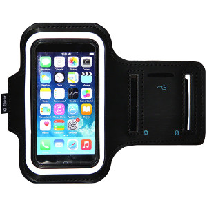 iPhone 5/5S/5c SE Running and Exercise Armband with Key Holder and Reflective Band | Also Fits iPhone 4/4S (Black)