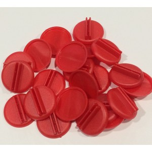 Plastic Card Stand (Red) to Hold up Playing Cards or Cardboard Marker Cut-outs: Set of 20 Red Color Round Board Game Playing Pieces (School Classroom Supplies, Arts and Crafts Projects, Teaching and Education Toy Resource Components, Extra Instructional P