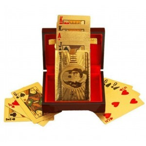 Science Purchase Deck of Poker Playing Cards in 999.9 Gold Foil Plating with Certificate and Mahogany Box, Bridge Size Cards, Playing Cards, Gold, 54 cards