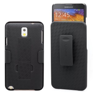 Galaxy Note 3 Case, Aduro COMBO Shell and Holster Case Super Slim Shell Case w/ Built-In Kickstand + Swivel Belt Clip Holster for Samsung Galaxy Note 3 (Retail Packaging)