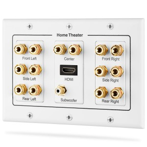 Fosmon HD8006 3-Gang 7.1 Surround Distribution Home Theater Gold Plated Copper Banana Binding Post Coupler Type Wall Plate for 7 Speakers, 1 RCA Jack for Subwoofer and 1 HDMI Port