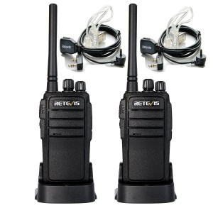 Retevis RT21 UHF 400-480MHz Two Way Radio 16 CH VOX Scrambler Ham Transiver(1 Pair) and Covert Air Acoustic Earpiece(2 Pack)