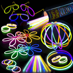 "Glow Sticks Bulk Party Supplies Pack - 100-Pc. 8""  PartySticks Brand Premium Glow In The Dark Light Sticks and Connectors Makes Tons of Glow Necklaces and Glow Bracelets"