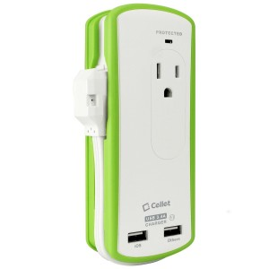 Cellet Dual Outlet and USB Portable Travel Charger, Compact Mini Surge Protector - 10 Watt (2.1 Amp) USB - Retail Packaging