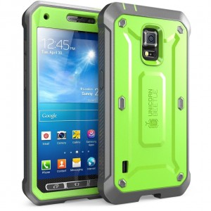 Galaxy S5 Case, SUPCASE [Heavy Duty] Samsung Galaxy S5 Case [Unicorn Beetle PRO Series] Full-body Rugged Case with Built-in Screen Protector (Green/Gray), Dual Layer Design + Impact Resistant Bumper