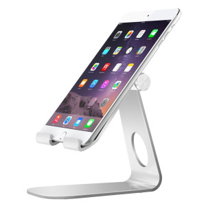 MoKo Tablet Stand, Universal 210 Degree Multi-Angle Rotatable Aluminum Smartphone Tablet Desktop Cradle Holder for iPad Pro 10.5/9.7/Mini, iPhone 8/8 Plus/7/7 Plus, iPhone X, Galaxy Note 8, Silver