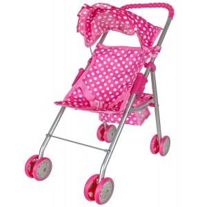 Precious Toys Pink and White Polka Dots Foldable Doll Stroller With Hood
