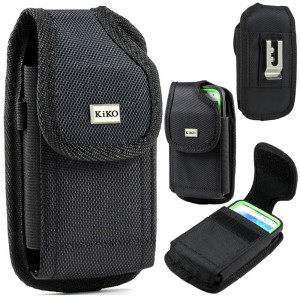 Apple iPhone 5S, 5C, 5 Black Premium Vinyl Leather Carrying Holster Belt Clip Loop Pouch Case Cover Fits Otterbox Defender Series and Lifeproof Cover on for Apple iPhone 5S, 5C, 5