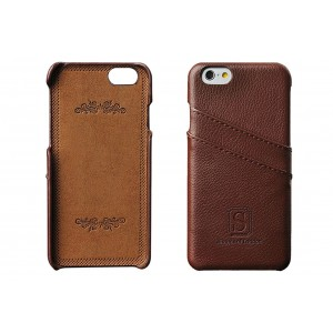 iPhone 6/6s Coated Leather Case with Slots for ID/bank cards - Perfect Slim Fit Luxury Cases by Simons of London - Walnut Brown Back Cover with Gift Box - Enhance and Protect your iPhone today!