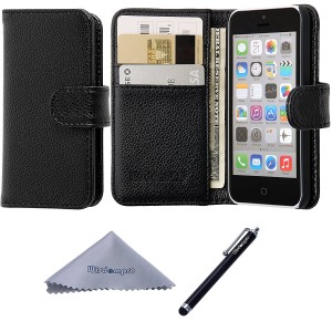 iPhone 5c Case, Wisdompro Premium PU Leather 2-in-1 Protective [Flip Folio] Wallet Case with Multiple Credit Card Holder/Slots for Apple iPhone 5c (Black)