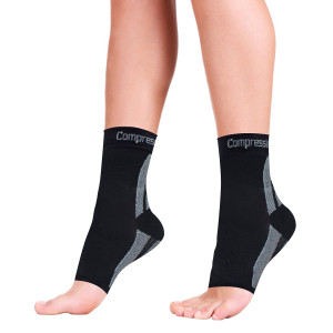 Foot Sleeves (1 Pair) Best Plantar Fasciitis Compression Sock for Men and Women - Heel Arch Support/ Ankle Sock, Great for Hiking, Better feel than Copper Fit