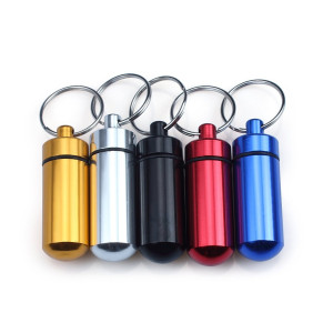Portable Aluminum Pill Box Keyring Case Holder Bottle Stash Container