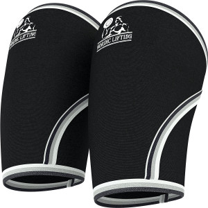Elbow Sleeves (1 Pair) Support and Compression for Weightlifting, Powerlifting,Cross Training and Tennis -5mm Neoprene Sleeve for the Best Performance -Both Women and Men-by Nordic Lifting-1 Year Warranty