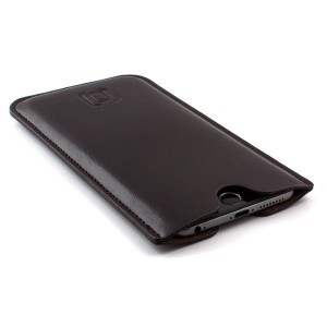 Synthetic Leather iPhone 8 Plus, 7 Plus, 6 Plus and 6S Plus Sleeve - Slightly Padded Microfiber Lined Executive Professional Synthetic Leather Case by Dockem (Dark Brown)