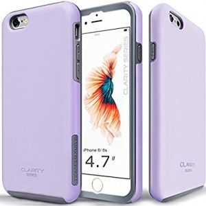 iPhone 6s Case, TEAM LUXURY [Clarity Series] Purple Ultra Defender TPU + PC Shock Absorbent Slim-fit Premium Protective Case - for Apple iPhone 6 / iPhone 6S (Lavender/ Gray)