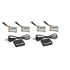 X-Drone Nano H107R 4 x Batteries 2 x Chargers Huban type 3.7v 240mAh 25c LiPo Quadcopter Battery Charger Combo - FAST FROM Orlando, Florida USA!