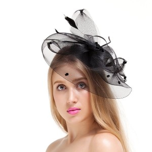 Valdler Women Lady Girls Feather Net and Veil Fascinator Hair Clip Hat Hair Accessories Clip (Black)
