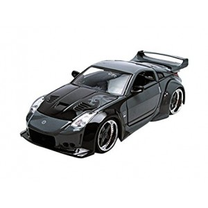 "D.K.'s Nissan 350Z Black ""Fast n Furious""  Movie 1/24 by Jada 97172 Full Body Grey Design and Black Hood"