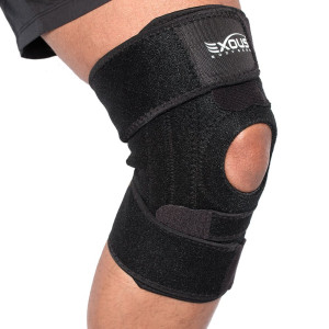 Knee Brace Support Protector - Relieves Patella Tendonitis - Jumpers Knee Mensicus Tear - ACL Lateral and Medial Ligament Sprains Comfort Design TRUE NON-SLIP FIT For Arthritis - Sport - Running