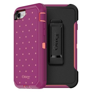 OtterBox DEFENDER SERIES Case for iPhone 8 and iPhone 7 (NOT Plus) - Frustration Free Packaging - CORAL DOT (FUSION CORAL/BATON ROUGE/METALLIC DOT)
